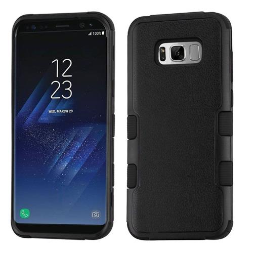 Insten Tuff Hard Dual Layer Rubberized Silicone Cover Case For Samsung Galaxy S8 - Black