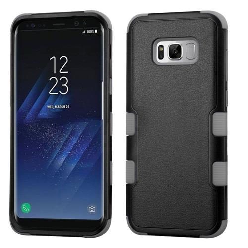 Insten Tuff Hard Hybrid Rubberized Silicone Case For Samsung Galaxy S8 - Black/Gray