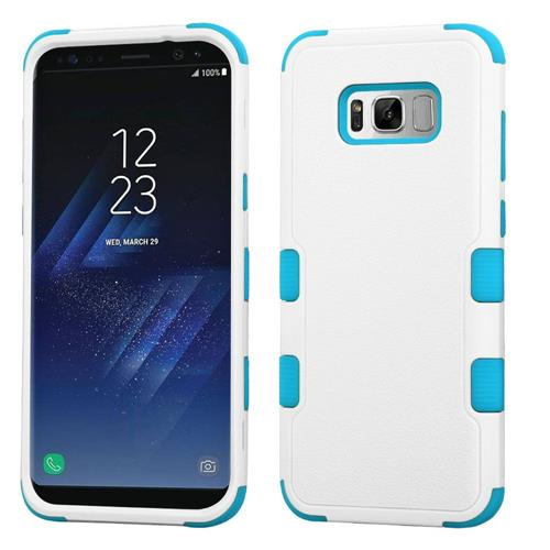 Insten Tuff Hard Dual Layer Rubberized Silicone Cover Case For Samsung Galaxy S8 Plus - White/Blue