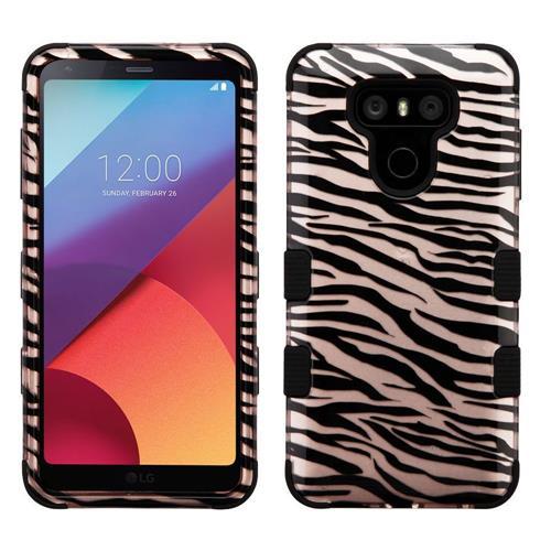 Insten Tuff Zebra Hard Hybrid Silicone Cover Case For LG G6 - Black/Rose Gold