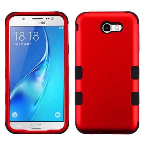 Insten Hard Hybrid Silicone Case For Samsung Galaxy J7 (2017)/J7 Perx/J7 Sky Pro/J7 V, Red/Black