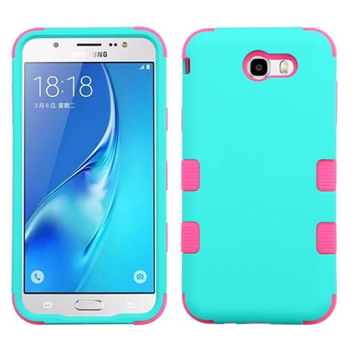 Insten Hard Rubberized Silicone Case For Samsung Galaxy J7 (2017)/J7 Perx/J7 Sky Pro/J7 V, Teal/Pink