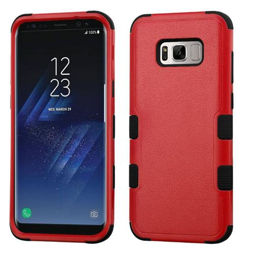 Insten Tuff Hard Dual Layer Rubber Silicone Cover Case For Samsung Galaxy S8 Plus - Red/Black