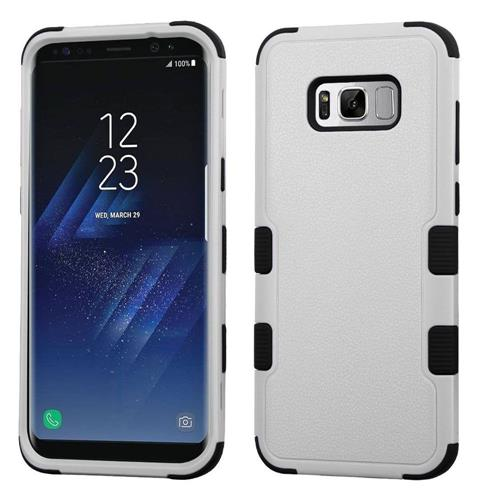 Insten Tuff Hard Dual Layer Rubber Coated Silicone Case For Samsung Galaxy S8 Plus, Light Gray/Black