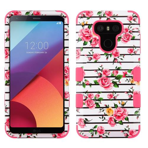 Insten Tuff Fresh Roses Hard Hybrid Rubber Coated Silicone Cover Case For LG G6 - Pink/White