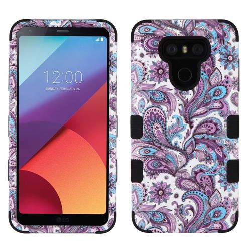 Insten Tuff European Flowers Hard Dual Layer Rubber Silicone Cover Case For LG G6 - Purple