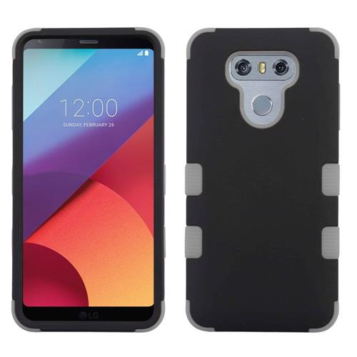 Insten Tuff Hard Dual Layer Rubber Coated Silicone Case For LG G6 - Black/Gray