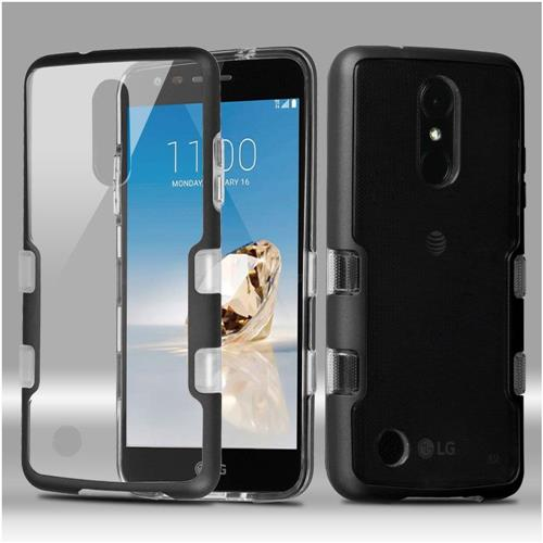 Insten Hard Hybrid Crystal TPU Case For LG Aristo/Fortune/K4 (2017)/K8 (2017)/Phoenix 3, Clear/Black