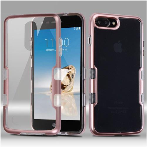Insten Hard Crystal TPU Case For LG Aristo/Fortune/K4 (2017)/K8 (2017)/Phoenix 3, Clear/Rose Gold