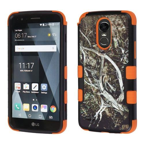 Insten Tuff Vines Hard Dual Layer Rubber Silicone Cover Case For LG Stylo 3 - Black/Orange