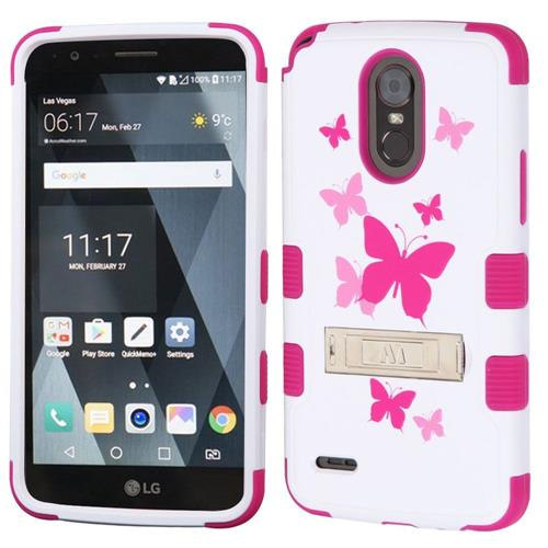 Insten Tuff Butterfly Dancing Hard Dual Layer Rubber Coated Silicone Case For LG Stylo 3, White/Pink