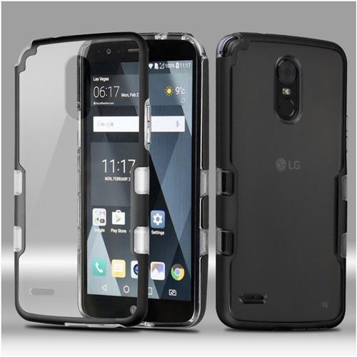Insten Tuff Hard Hybrid Crystal TPU Case For LG Stylo 3 - Clear/Black