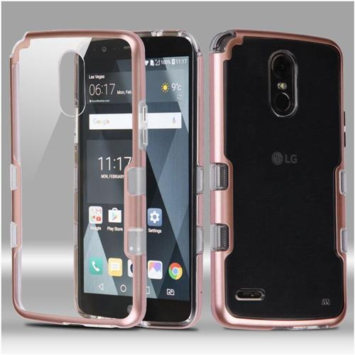 Insten Tuff Hard Dual Layer Crystal TPU Case For LG Stylo 3 - Clear/Rose Gold