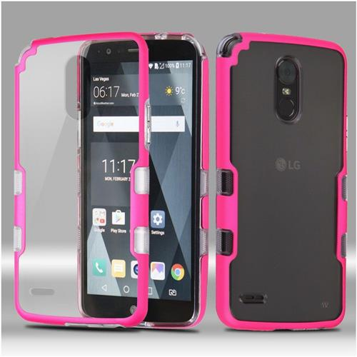 Insten Tuff Hard Dual Layer Crystal TPU Case For LG Stylo 3 - Clear/Pink