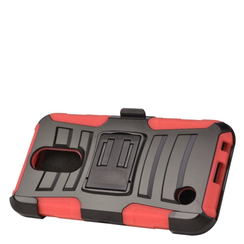 Insten Hard Dual Layer Plastic Silicone Cover Case w/Holster For LG K10 (2017)/K20 Plus - Black/Red