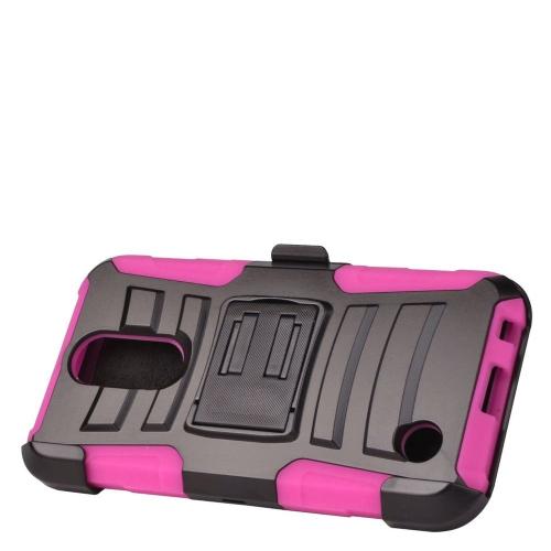 Insten Hard Hybrid Plastic Silicone Case w/Holster For LG K10 (2017)/K20 Plus - Black/Hot Pink