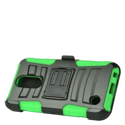 Insten Hard Hybrid Plastic Silicone Cover Case w/Holster For LG K10 (2017)/K20 Plus - Black/Green