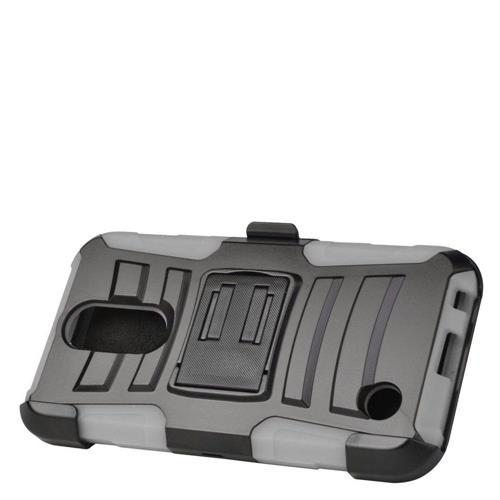 Insten Hard Hybrid Plastic Silicone Cover Case w/Holster For LG K10 (2017)/K20 Plus - Black/Gray
