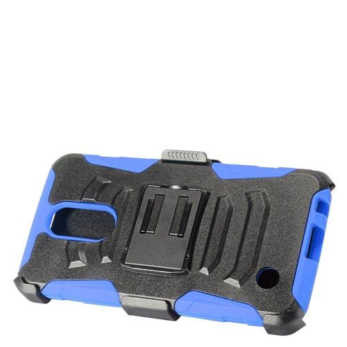 Insten Hard Dual Layer Plastic Silicone Case w/Holster For LG K10 (2017)/K20 Plus - Black/Blue