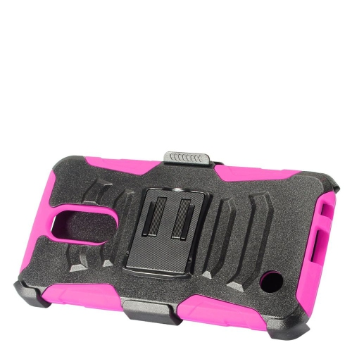 Insten Hard Dual Layer Plastic Silicone Case w/Holster For LG K10 (2017)/K20 Plus - Black/Hot Pink