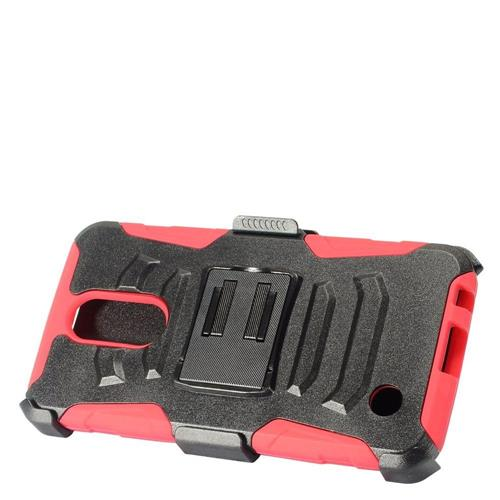 Insten Hard Dual Layer Plastic Silicone Case w/Holster For LG K10 (2017)/K20 Plus - Black/Red