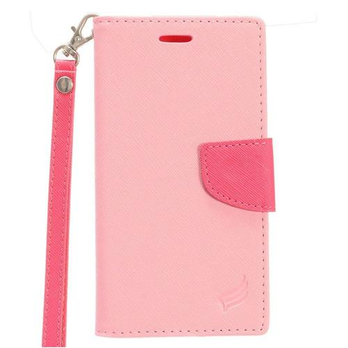 Insten Folio Case Lanyard w/stand/card slot/Photo Display For LG K10 (2017)/K20 Plus, Hot Pink
