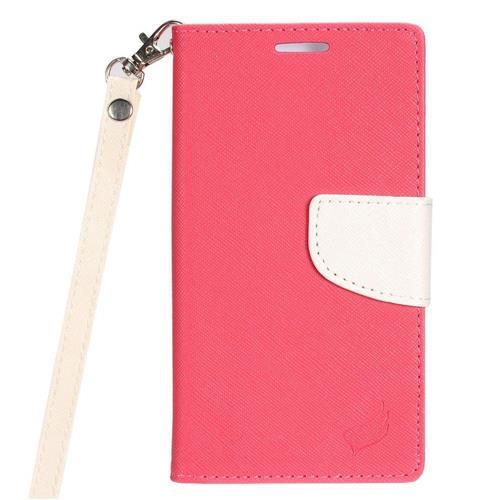 Insten Flip Case Lanyard w/stand/card holder/Photo Display For LG K10 (2017)/K20 Plus, Pink/White