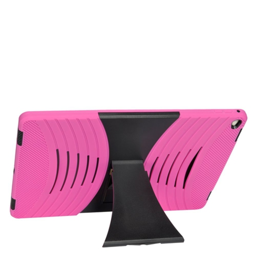 """Insten Silicone Dual Layer Rubber Hard Case w/stand For Apple iPad Pro 12.9"""" - Hot Pink/Black"""