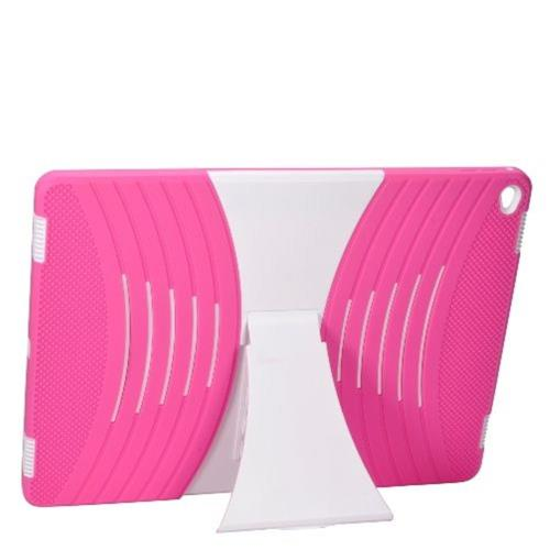 "Insten Skin Hybrid Rubber Hard Case w/stand For Apple iPad Pro 12.9"" - Hot Pink/White"