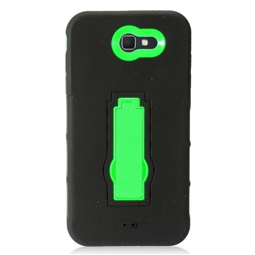Insten Skin Hybrid Rubber Hard Cover Case w/stand For Samsung Galaxy J7 (2017)/Sky Pro - Black/Green