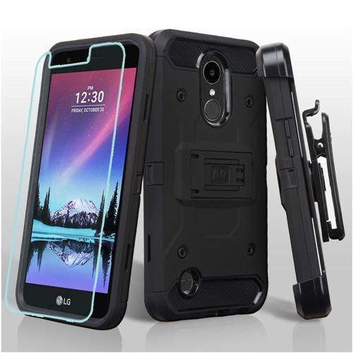 Insten Hard Dual Layer TPU Case w/Holster/Installed For LG K10 (2017)/K20 Plus/V5 - Black