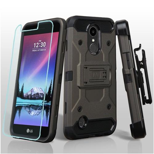 Insten Hard Dual Layer TPU Cover Case w/Holster/Installed For LG K10 (2017)/K20 Plus/V5 - Gray/Black