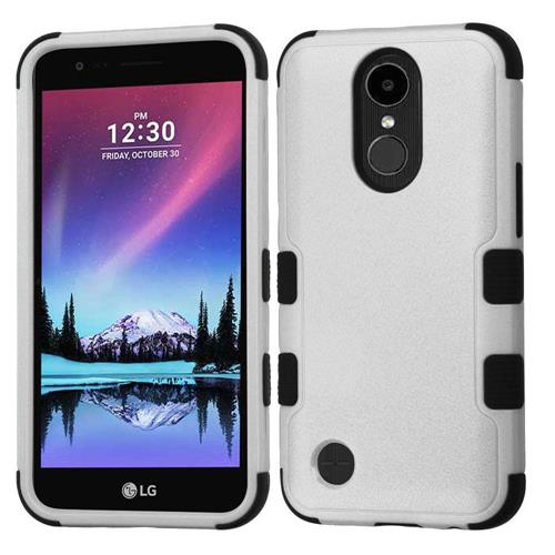 Insten Hard Dual Layer Rubberized Silicone Case For LG K10 (2017)/K20 Plus/V5 - Gray/Black