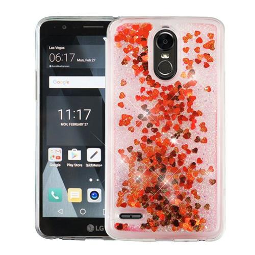 Insten Hearts Hard Glitter TPU Case For LG Stylo 3 - Red