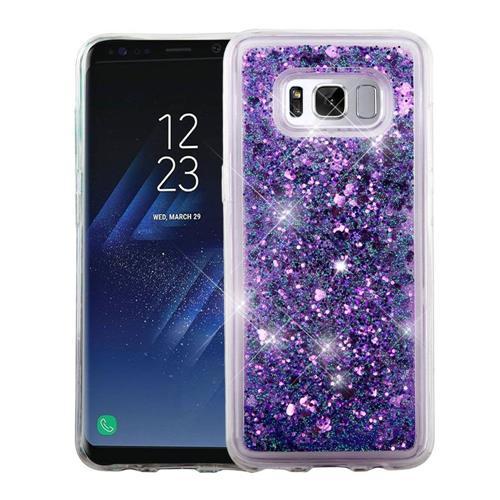 Insten Hearts Hard Glitter TPU Case For Samsung Galaxy S8 - Purple