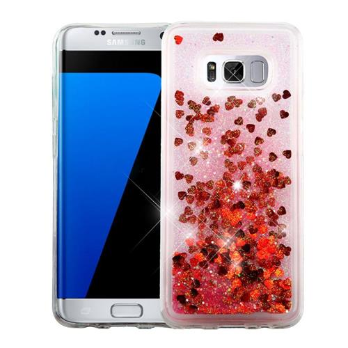 Insten Hearts Hard Glitter TPU Cover Case For Samsung Galaxy S8 Plus - Red