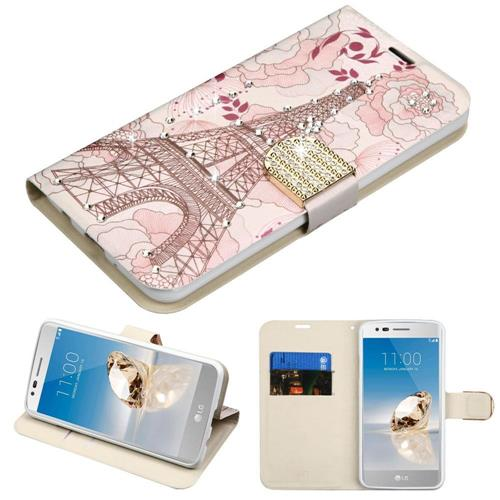 Insten Eiffel Tower Leather Fabric Case w/stand For LG Aristo/Fortune/K8 (2017)/LV3/Phoenix 3, Pink