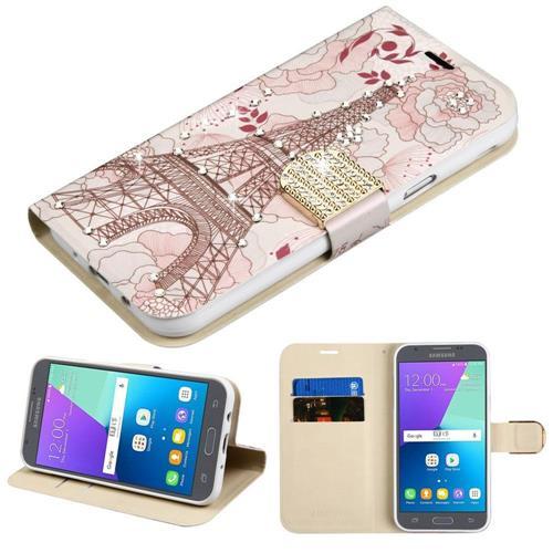 Insten Eiffel Tower Folio Case w/stand/card slot For Samsung Galaxy Express Prime 2/J3 (2017), Pink