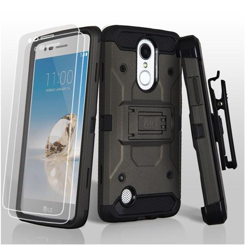 Insten Hard TPU Case w/Holster/Installed For LG Aristo/Fortune/K8 (2017)/LV3/Phoenix 3, Gray/Black