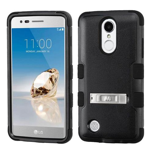 Insten Hard Silicone Case w/stand/Holster For LG Aristo/Fortune/K8 (2017)/LV3/Phoenix 3, Black