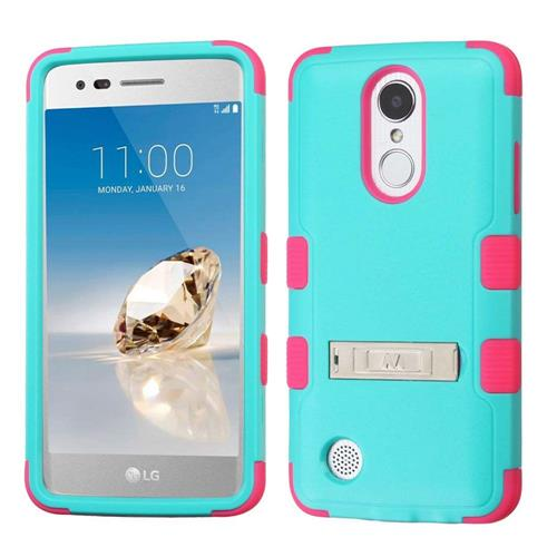 Insten Hard Rubber Cover Case w/stand For LG Aristo/Fortune/K8 (2017)/LV3/Phoenix 3, Teal/Pink
