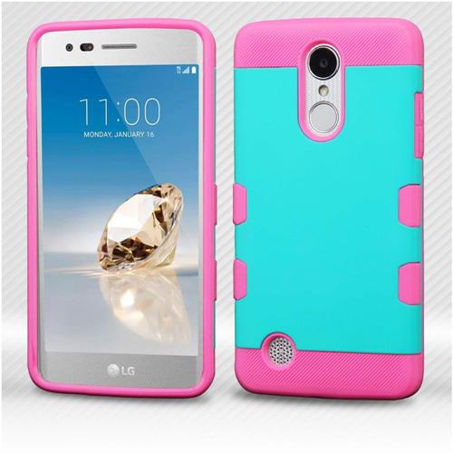 Insten Hard Dual Layer TPU Case For LG Aristo/Fortune/K8 (2017)/LV3/Phoenix 3 - Teal/Hot Pink