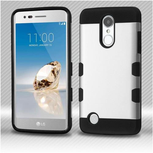 Insten Hard Dual Layer TPU Cover Case For LG Aristo/Fortune/K8 (2017)/LV3/Phoenix 3 - Silver/Black