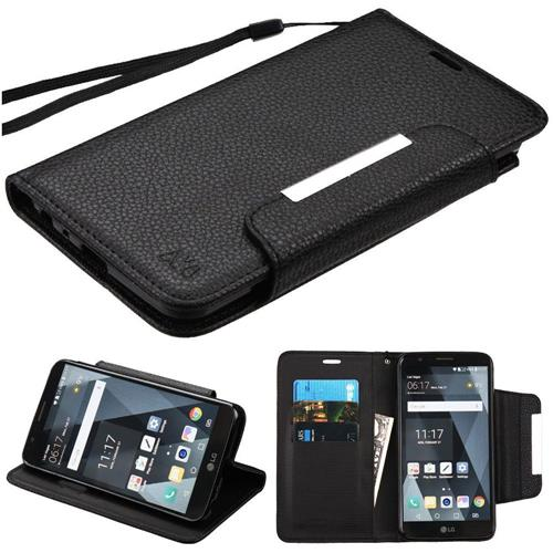 Insten Book-Style Leather Fabric Case Lanyard w/stand/card slot For LG Stylo 3 - Black