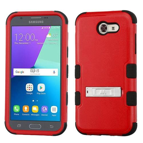 Insten Hard Silicone Case w/stand/Holster For Samsung Galaxy Express Prime 2/J3 (2017), Red/Black
