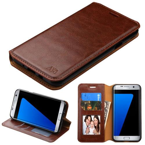 Insten Flip Case w/stand/card slot/Photo Display For Samsung Galaxy J7 (2017)/Sky Pro, Brown
