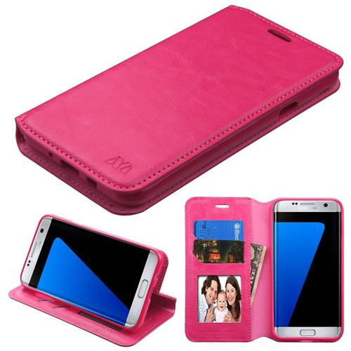 Insten Folio Case w/stand/card slot/Photo Display For Samsung Galaxy J7 (2017)/Sky Pro, Hot Pink