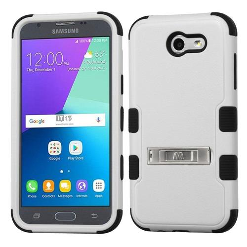 Insten Hard Silicone Case w/stand/Holster For Samsung Galaxy Express Prime 2/J3 (2017), Gray/Black