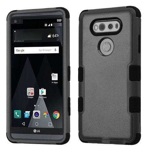 Insten Tuff Hard Hybrid Rubber Silicone Cover Case For LG V20 - Black