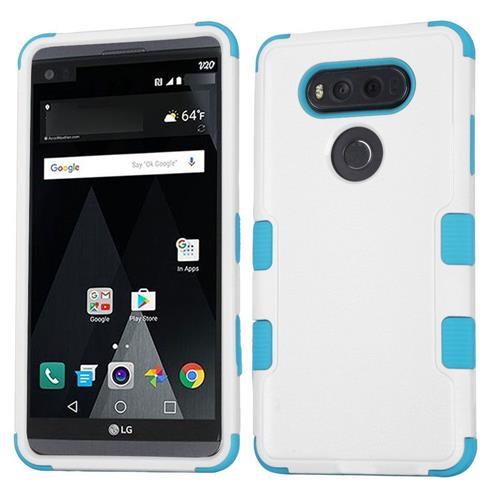 Insten Tuff Hard Hybrid Rubberized Silicone Cover Case For LG V20 - White/Blue